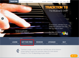 Tracktion公式サイトにアクセス